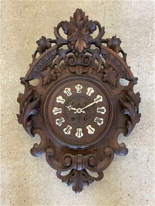 Carved Black Forest Wall Clock