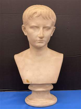 Carved White Marble Bust of Young Caesar