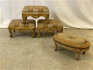 Four Antique French Needlepoint Footstools