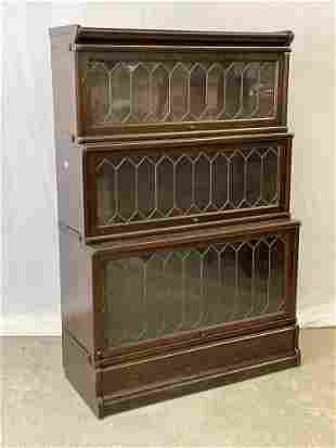 Oak Three-section Leaded-glass Barrister