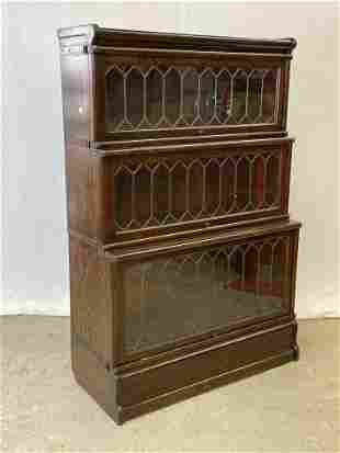 Oak Three-section Leaded-glass Barrister Bookcase