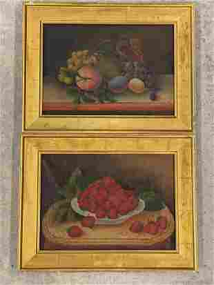 Pr. American School Oils/Canvas, Fruit Still Lifes