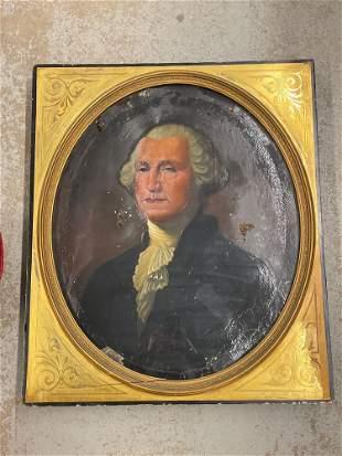 Antique Oil Painting, Portrait of Geo. Washington