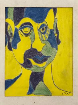 Attributed to Peter Max. Portrait Drawing