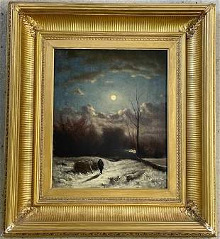 Hudson River School. Oil/Canvas, Moonlit Landscape