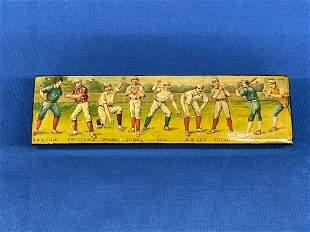 Early Baseball Decorated Pencil Box