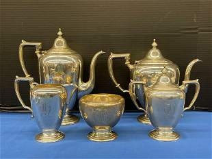 Five-piece Fischer Sterling Silver Tea Service