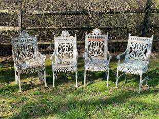 Four William Adams Cast Iron Garden Chairs