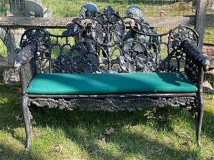 Fine Cast Iron Garden Bench with Oak Leaf Design