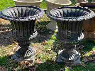 Pair of Cast Aluminum Garden Urns