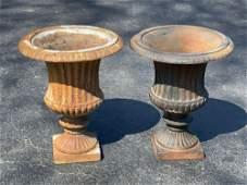 Pair of Small Cast Iron Garden Urns