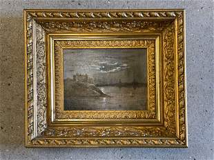Hudson River School Oil/Canvas, Harbor Scene