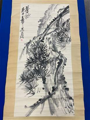 Scroll Painting of a Pine Tree