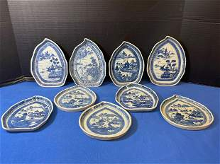 Nine Chinese Export Blue & White Leaf Dishes