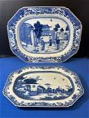 2 Chinese Export Blue & White Porcelain Platters