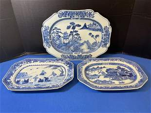 3 Chinese Export Blue & White Porcelain Platters
