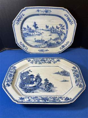Two Chinese Export Blue & White Porcelain Platters