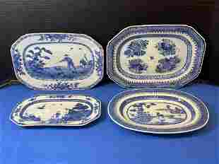 Four Small Chinese Export Blue & White Platters
