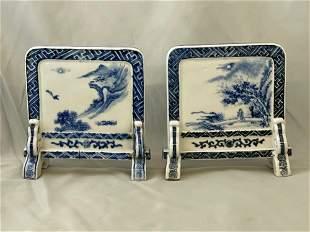 Two Japanese Blue & White Porcelain Kenbyo