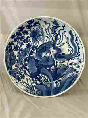 Chinese Blue & White Porcelain Phoenix Charger