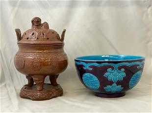 Chinese Porcelain Bowl and Censer