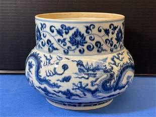 Chinese Blue & White Porcelain Dragon Jar