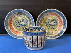 Three-piece Japanese Porcelain Grouping