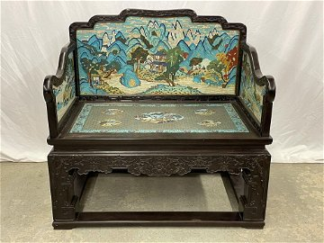 Fine Chinese Rosewood and Cloisonne Bench