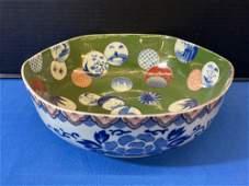 Japanese Fukagawa Hexagonal Bowl