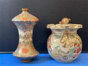 Japanese Satsuma Vase and Covered Jar