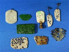 Nine-piece Chinese Carved Jade Grouping