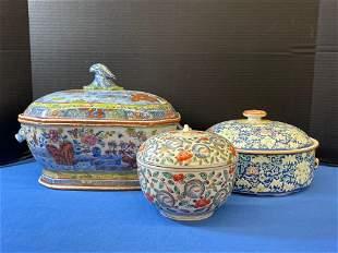 Three-piece Asian Porcelain Grouping