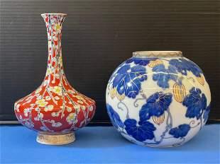 Two Japanese Fukagawa Porcelain Vases