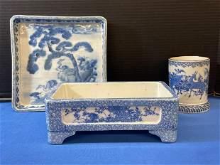Three Blue & White Porcelain Articles