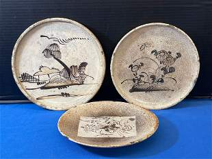 Three Japanese Pottery Oil Dishes
