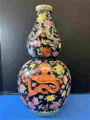 Large Chinese Porcelain Double Gourd Dragon Vase