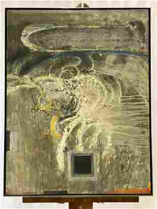 Arthur Okamura. Oil/Canvas, Image in a Pond