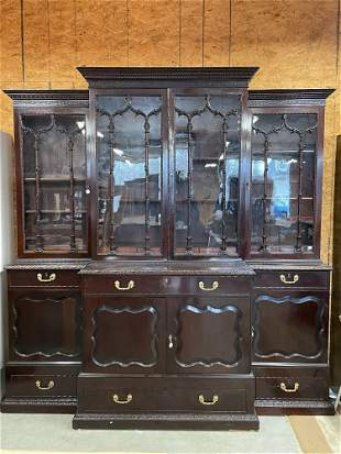 Chinese Chippendale Mahogany Breakfront Bookcase