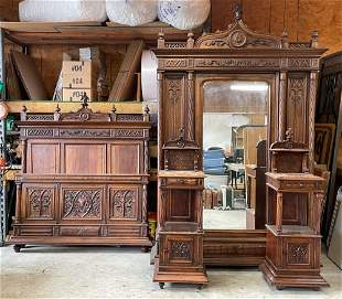 Exceptional Gothic Carved Walnut Bedroom Suite