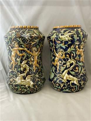 Pair of Ferruccio Mengaroni Italian Pottery Vases