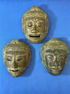 Three Southeast Asian Bronze Masks