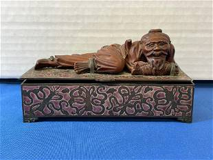 Chinese Enameled Dresser Box with Carved Figure