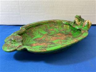 Weller Art Pottery Coppertone Frog Dish