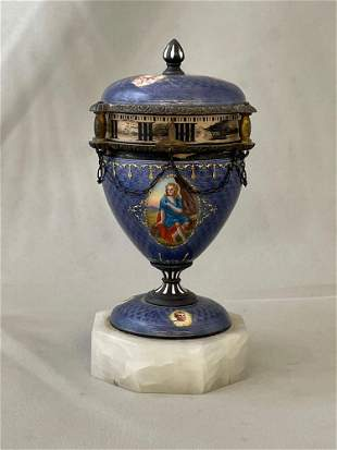 Austrian Sterling Silver and Enamel Annular Clock