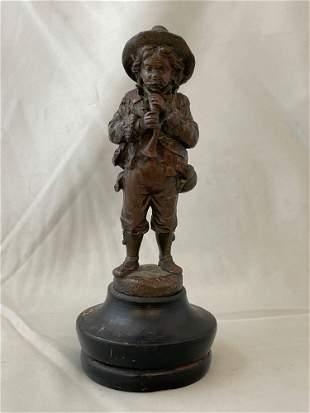 Eugene Barillot. Bronze Sculpture, Horn Player