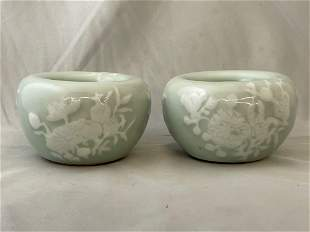 Pair of Chinese Celadon Porcelain Bowls