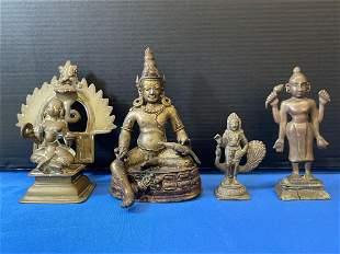 Four Bronze Deity Statues