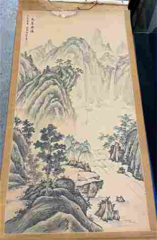 Chinese Painted Scroll, Landscape with Figure