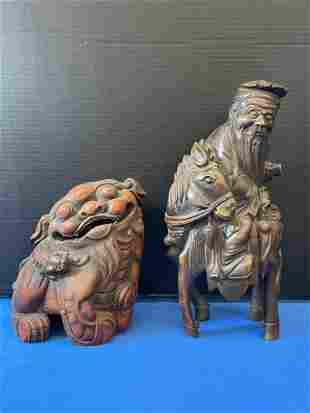 Two Chinese Bamboo Figural Carvings