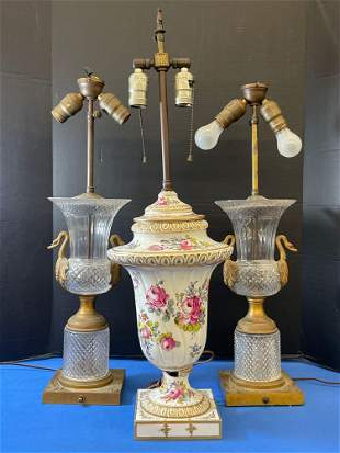 Three Table Lamps: French Crystal & Meissen